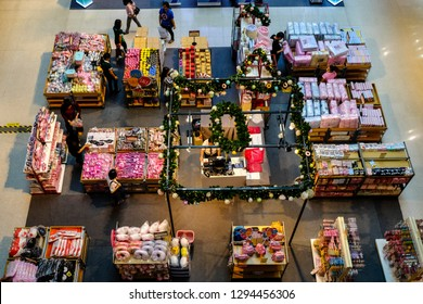 Bangkok, Thailand - September 30, 2018 : fashionable interior of shoe store in modern mall, Central clothing shop inside Central Festival shopping mall on Chaweng, Shopping mall, department store.