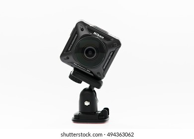 BANGKOK, THAILAND - SEPTEMBER 30,2016 : Nikon New products KeyMission 360 the first action camera  Attaches KeyMission 360 to other mount accessories using the camera's tripod socket.