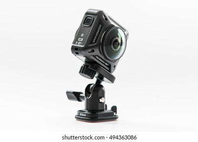 BANGKOK, THAILAND - SEPTEMBER 30,2016 : Nikon New products KeyMission 360 the first action camera  Attaches KeyMission 360 to other mount accessories using the camera's tripod socket