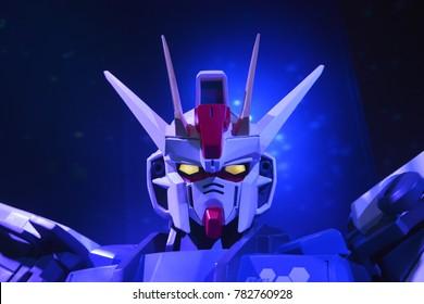 Bangkok, Thailand - September 31, 2017: Human Size Mobile Suit GAT-X105 Strike Gundam Gundam Model at Gunpla Expo Thailand 2017