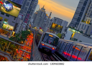 Bangkok, Thailand, September 4, 2017 : The Bangkok Mass Transit System, commonly known as the BTS Skytrain is an elevated rapid transit system.