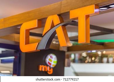Bangkok Thailand - September 4,2017 CAT Telecom Thailand's telecommunications service company including international gateways satellite and cable networks.