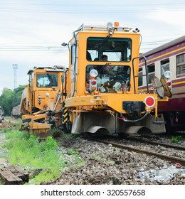 Bangkok, Thailand - September 5, 2015 : Restoration the railroad tracks by Plasser and Theurer machine at State Railway of Thailand.