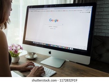 Bangkok. Thailand .September 5, 2018: A woman is typing on Google search engine from a laptop. Google is the biggest internet search engine in the world.