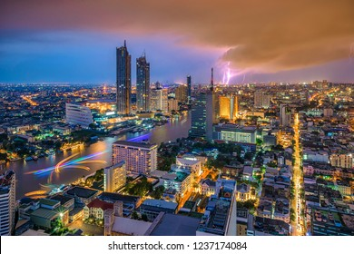Bangkok, Thailand - September 5, 2018: View of Bangkok cityscape from Lebua at State tower.