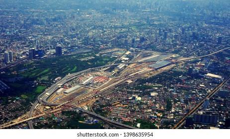 Bangkok, Thailand - September 5, 2018: Aerial view of construction of Bang Sue Central Station or Bang Sue Grand Station