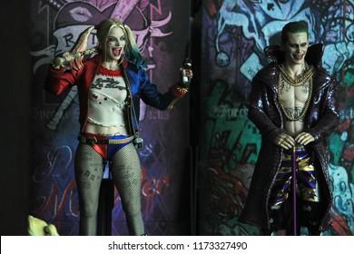 BANGKOK THAILAND - SEPTEMBER 6 ,2018 : Close up shot of Joker and Harley Quinn in action at Home in Bangkok, Thailand