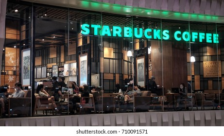 Bangkok Thailand - September 6,2017 : Lots of people meet and talk in Starsbuck coffee shop. Starsbuck coffee, This branch is located in Future Park Rangsit, Pathumtani, Thailand.