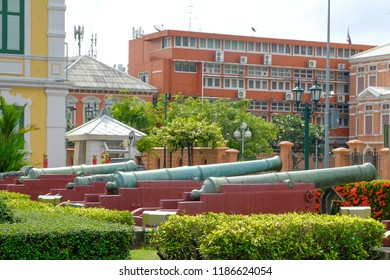 Bangkok, Thailand - September 7, 2018 : The ancient artillery gun of Thailand, Ancient artillery made of cast iron looks awesome.