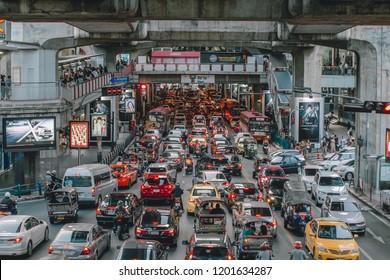 Bangkok, Thailand - September 7, 2018:  traffic jam on the road at Siam, Bangkok, Thailand.