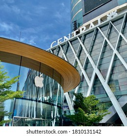 Bangkok / Thailand - September 7 2020: Exterior of Apple Store `Central World Bangkok