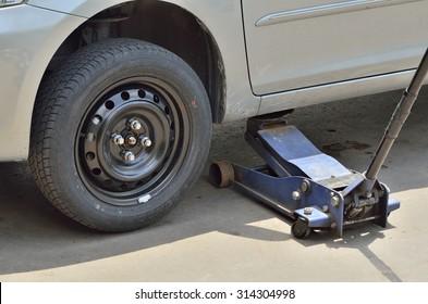 BANGKOK, THAILAND - SEPTEMBER 7,2015 : Standard spare tire wheel of Toyota Vios (Selective focus).
