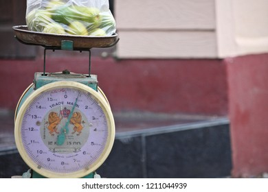 Bangkok, Thailand - September 8, 2018: Lime weighs on the scale.weighing machine.The scale is in kilograms.Can be used to weigh things such as fruits and vegetables.
