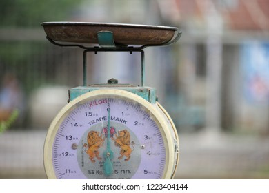 Bangkok, Thailand - September 8, 2018: weighing machine.The scale is in kilograms.Can be used to weigh things such as fruits and vegetables.