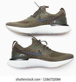 BANGKOK , THAILAND - SEPTEMBER 9, 2018 : Product shoot of Nike men's running shoe, Nike Epic React Flyknit on Running white background.