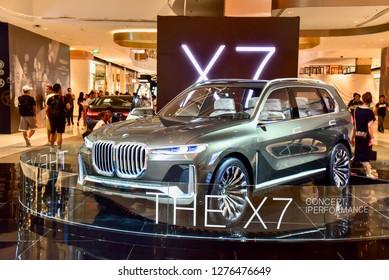 Bangkok, Thailand - September 9, 2018: 2019 BMW X7 iPerformance Concept Car Displaying at BMW Expo
