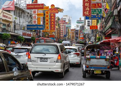 Bangkok, Thailand, Sunday 11 August 2019 : Traffic jam in China town or Yaowarat road one of the most popular place for shopping and street food in Bangkok
