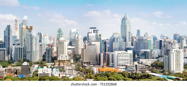 Bangkok Thailand towers and buildings cityscape in downtown.  High buildings and tall towers panorama.