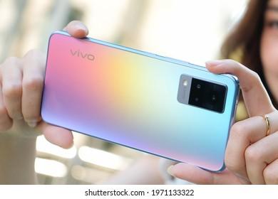 BANGKOK THAILAND : Vivo launch New Smartphone Vivo V21 5G on May 10 ,2021 bangkok ,thailand