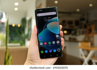 BANGKOK THAILAND : Vivo launch New Smartphone Vivo X60 Pro 5G on June 10 ,2021 bangkok ,thailand