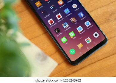BANGKOK THAILAND : Xiaomi launch new smartphone Xiaomi Mi 8 Lite on August 5 ,2018 bangkok ,thailand