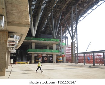 Bangkok, Thailand-20 March, 2019: Construction site of the Red Line commuter and Bangsue grand station.