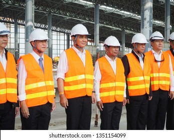 Bangkok, Thailand-20 March, 2019: Prime Minister Prayut Chan-o-cha and important cabinet ministers visited construction site of the Red Line commuter and Bangsue grand station.