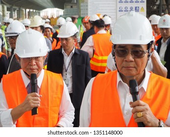 Bangkok, Thailand-20 March, 2019: Transport Minister Arkom Termpittayapaisith and Prime Minister Prayut Chan-o-cha visited construction site of the Red Line commuter and Bangsue grand station.