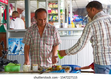 Bangkok, Thailand-2019 November 1: Indian betel traders selling betel to an Indian man in Phahurat, Bangkok..