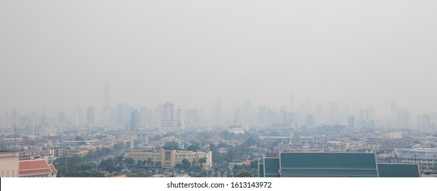 Bangkok, Thailand-2020-01-11 : Panorama cityscape of Bangkok covered by dust pm 2.5 in air pollution