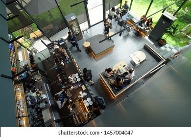 BANGKOK, THAILAND-21 July 2019 : KAIZEN COFFEE .View from second floor . Modern black and gray interior design.