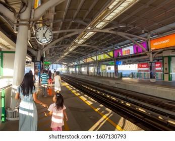 BANGKOK THAILAND-30 DECEMBER 2019:Udom Suk station is a BTS skytrain station, on the Sukhumvit Line in Bang Na District, Bangkok, Thailand. The station is located on Sukhumvit Road at Soi Udom Suk.