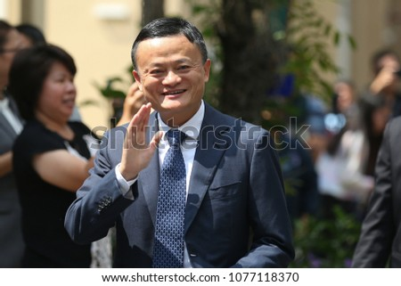 BANGKOK THAILAND-APR7:Jack Ma, founder of giant Alibaba,meets with Thailand's Prime Minister Prayuth Chan-ocha during a visit to the country to announce the group's investment in the Thai government's