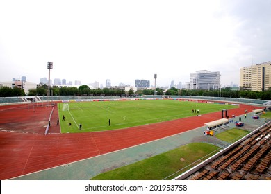 BANGKOK THAILAND-APRIL 05:Panoramic Views of Thai-Japanese Stadium before matchThai Premier League Bangkok United and Police United at Thai-Japanese Stadium on Apr 05,2014 in Thailand