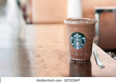 Bangkok ,Thailand-April 10 : Glass of Starbuck Coffee Frappuccino Blended Beverages  served on counter on 10 April 2014 in starbuck shop at The Circle Rajapruek, Bangkok, Thailand.