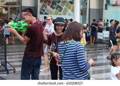 BANGKOK THAILAND-APRIL 13:Bangkok Songkran festival.Many people come to celebrate at Central world Rachaprasong Rd. on April 13,2016 in Bangkok, Thailand.