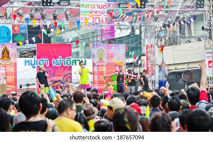BANGKOK THAILAND-APRIL 14:people celebrate Songkran (new year / water festival) at Siam Square  festival on April 14, 2014 in Bangkok,Thailand.
