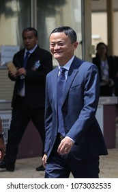 Bangkok, Thailand-April 19, 2018: Alibaba Group Chairman Jack Ma reacts during a visit to the country to announce the group's investment in the Thai government's Eastern Economic Corridor (EEC)