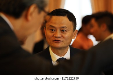 Bangkok, Thailand-April 19, 2018: Alibaba Group Chairman Jack Ma reacts during a visit to Thailand to announce the group's investment in the Thai government's Eastern Economic Corridor (EEC)
