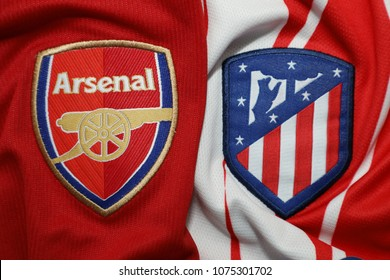 BANGKOK, THAILAND-APRIL 23: The Logo of Arsenal  and Atletico Madrid on Football Jersey on April 22,2018