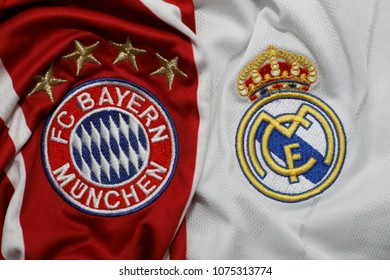 BANGKOK, THAILAND-APRIL 23: The Logo of  Bayern Munich and Real Madrid on Football Jersey on April 23,2018