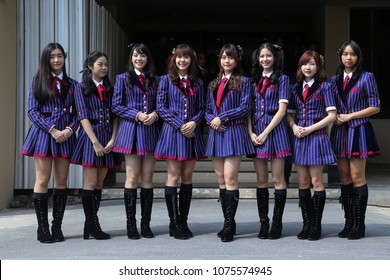 "Bangkok, Thailand-April 24, 2018:  8 Thais idol group ""BNK48"" show at Thai Government House to promote a youth radio station organized by government sector."