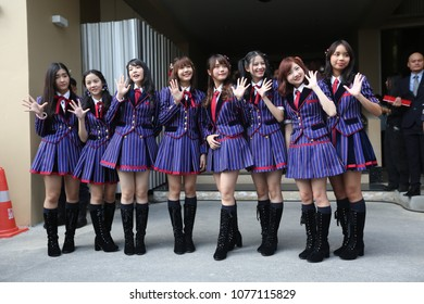 """Bangkok, Thailand-April 24, 2018: 8 Thais idol group """"BNK48"""" show at Thai Government House to promote a youth radio station organized by government sector."""