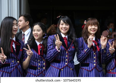 "Bangkok, Thailand-April 24, 2018: ""Cherprang"" (3rd left), Thai idol group ""BNK48"" show at Thai Government House to promote a youth radio station organized by government sector."