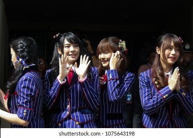 "Bangkok, Thailand-April 24, 2018: Thai idol group ""BNK48"" show at Thai Government House to promote a youth radio station organized by government sector."