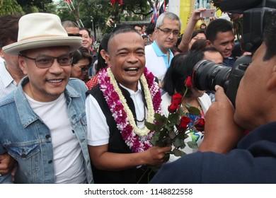 Bangkok, Thailand-Aug 04, 2018: Red-shirt leader Jatuporn Prompan freed at the Bangkok Remand Prison after completing one-year sentence for defaming former prime minister Abhisit Vejjajiva.