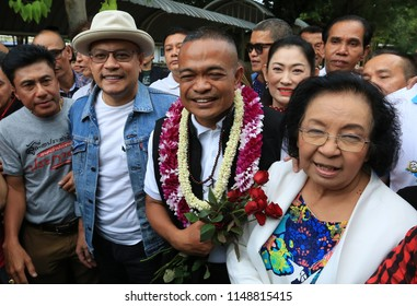 Bangkok, Thailand-Aug 4, 2018: Red-shirt leader Jatuporn Prompan freed on Saturday at the Bangkok Remand Prison after completing one-year sentence for defaming former prime minister Abhisit Vejjajiva.