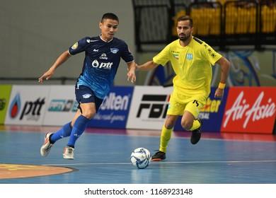 BANGKOK THAILAND-AUG27 -2018:APIWAT CHAEMCHAROEN of PTT Bluewave Chonburi in action during World Intercontinental Futsal Cup2018 Match PTT Bluewave Chonburi-Club Atletico Los Angeles at Bangkok Arena