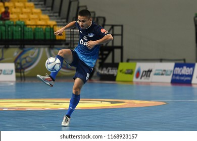 BANGKOK THAILAND-AUG27 -2018:APIWAT CHAEMCHAROEN of PTT Bluewave Chonburi in action during World Intercontinental Futsal Cup2018 Match PTT Bluewave Chonburi-Club Atletico Los Angeles at Bangkok Arena