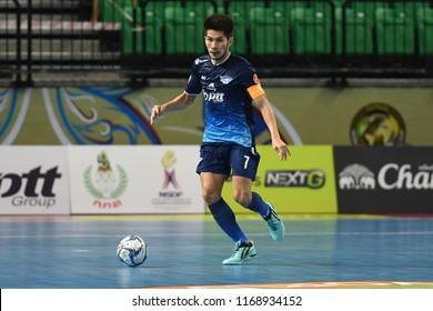 BANGKOK THAILAND-AUG27 -2018:Kritsada Wongkaeo of PTT Bluewave Chonburi in action during World Intercontinental Futsal Cup2018 Match PTT Bluewave Chonburi-Club Atletico Los Angeles at Bangkok Arena